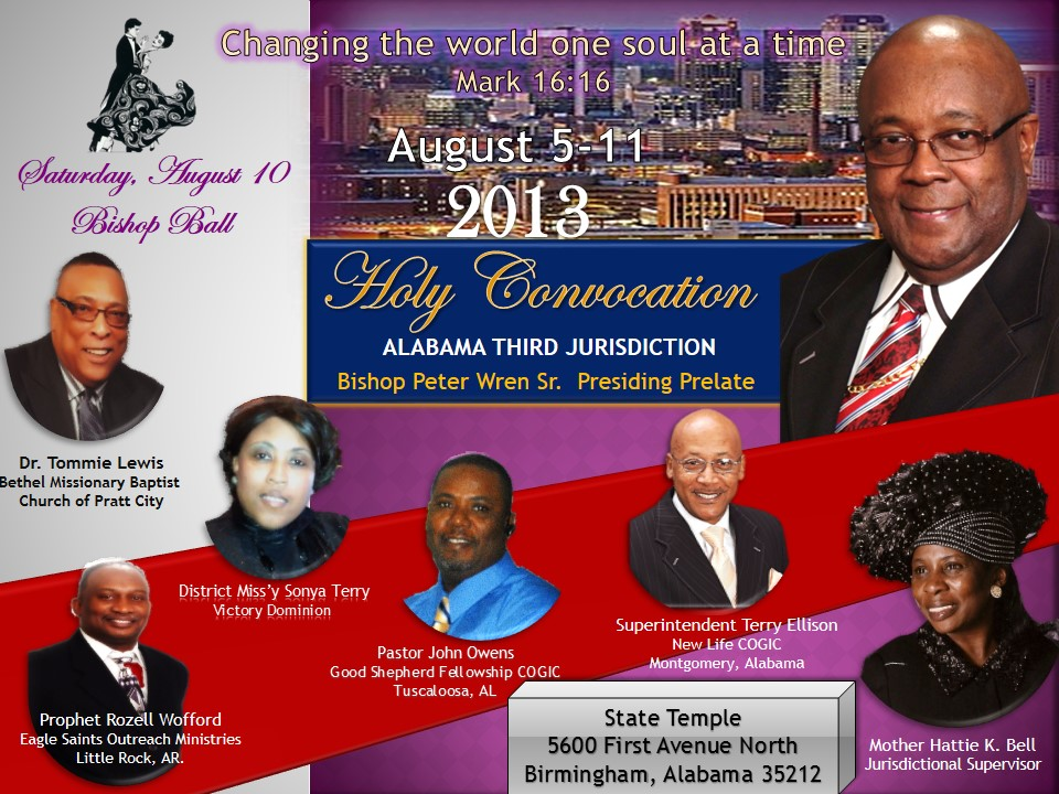 Alabama Third Jurisdiction COGIC Holy Convocation, Aug  5-11