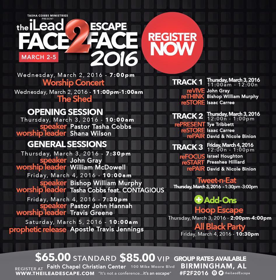 iLead Face2Face itenerary